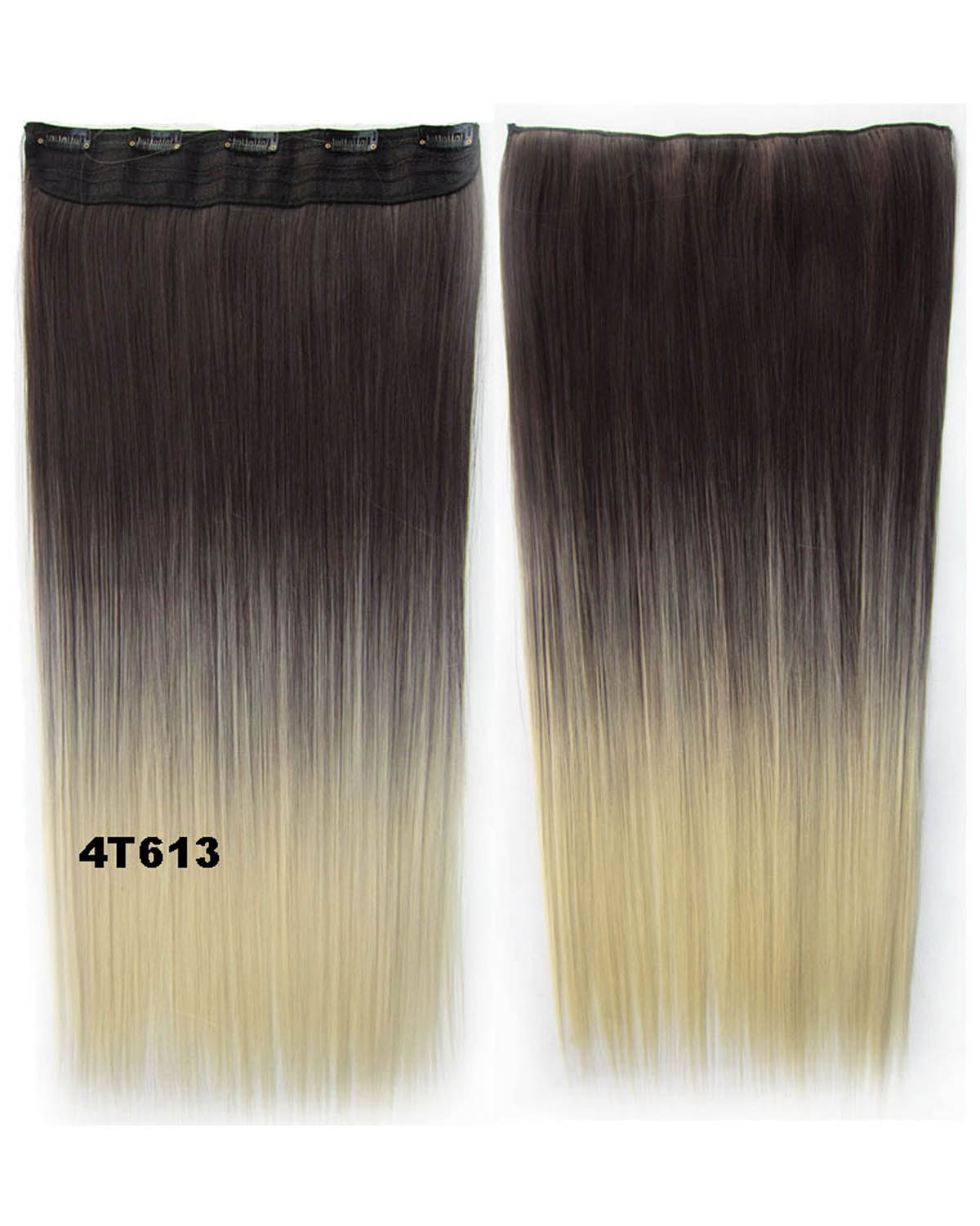 24 Inch Female Popular and Salable Long Straight One Piece 5 Clips Clip in Synthetic Hair Extension Ombre Two tone GS-666 4T613