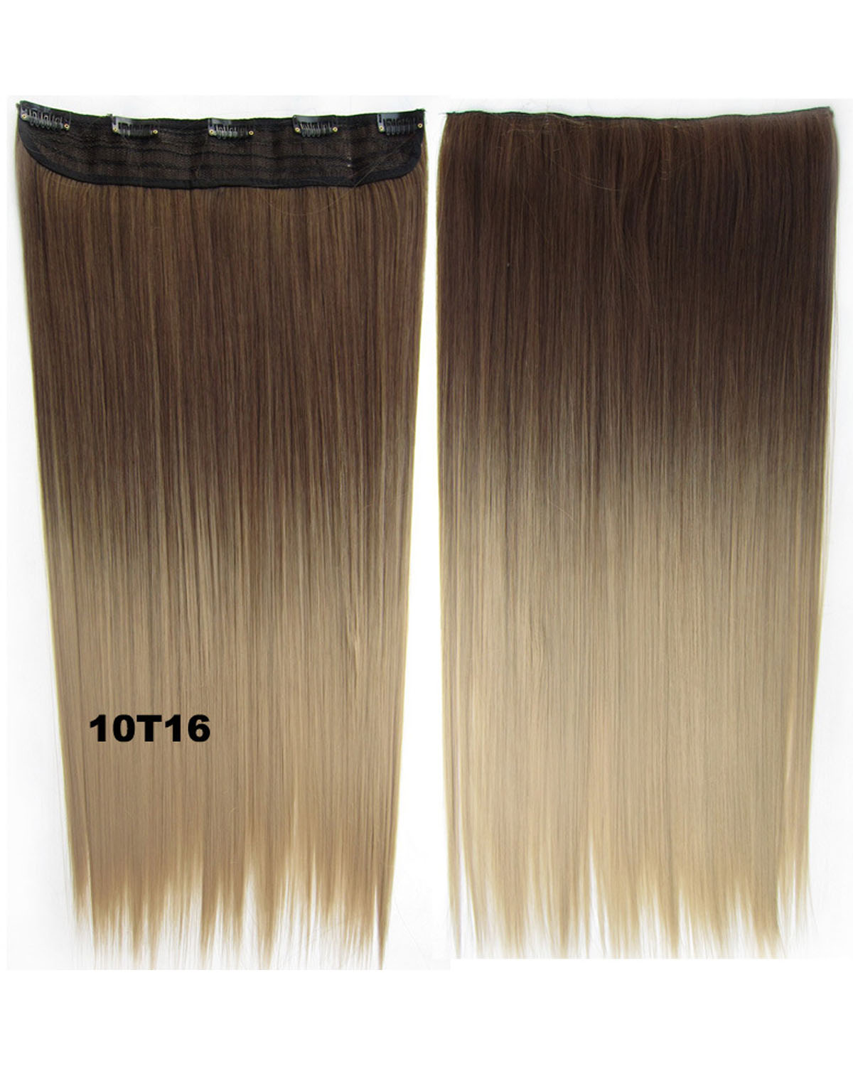 24 Inch Female Preeminent Long and Straight One Piece 5 Clips Clip in Synthetic Hair Extension Ombre 10T16