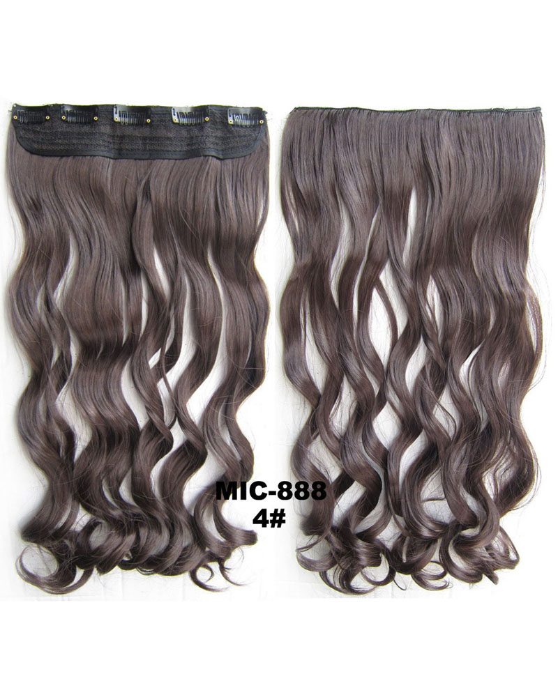 24 Inch Female Salable and Good Quality Body Wave Curly Long One Piece 5 Clips Clip in Synthetic Hair Extension 4# 100g