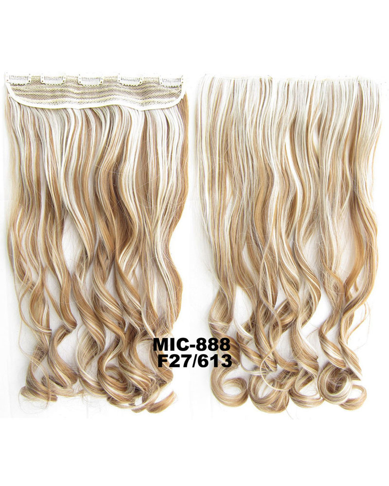 24 Inch Female Salable and Luminous Body Wave Curly Long One Piece 5 Clips Clip in Synthetic Hair Extension F27/613 100g