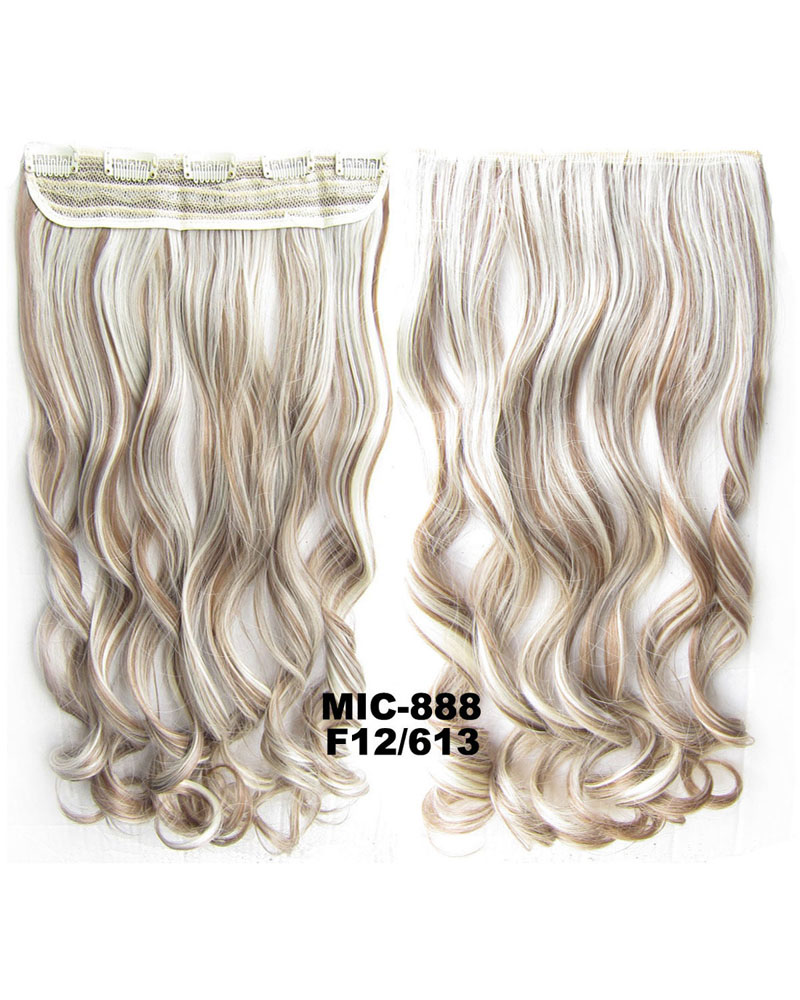 24 Inch Female Salable and Shiny Body Wave Curly Long One Piece 5 Clips Clip in Synthetic Hair Extension  F12/613 100g