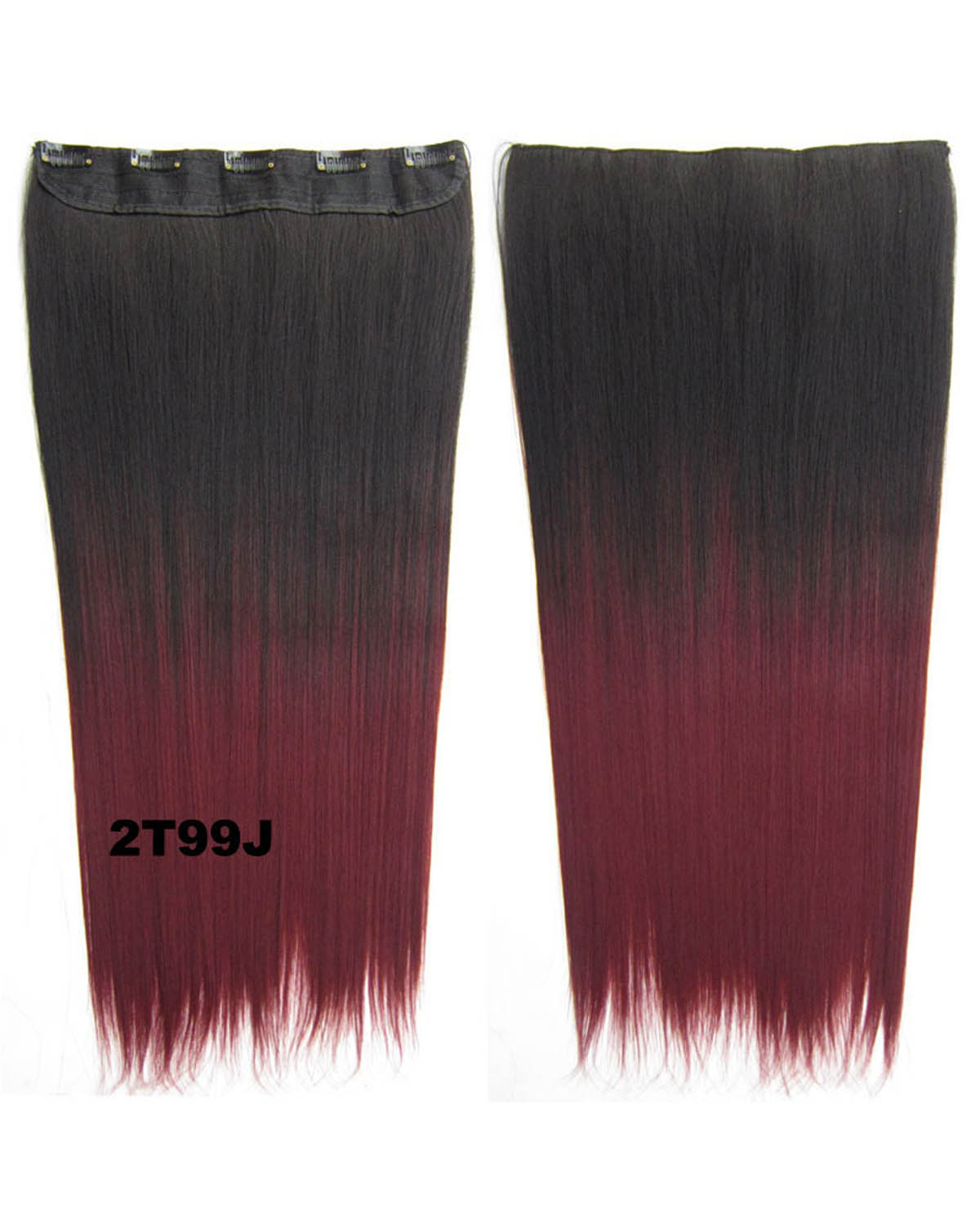 24 Inch Female Single Long Straight One Piece 5 Clips Clip in Synthetic Hair Extension Ombre2T99J