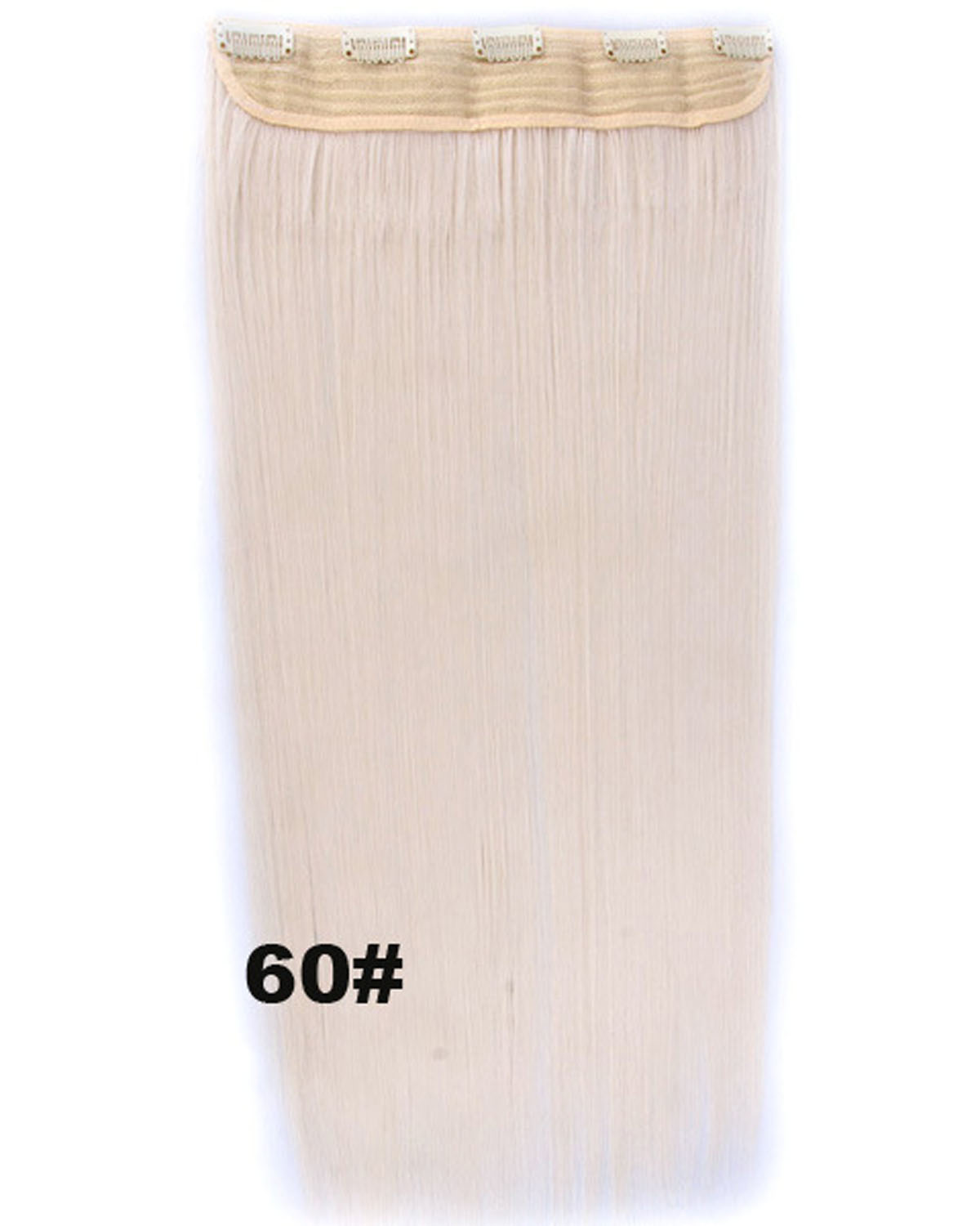 24 Inch Female Smooth and Long Straight One Piece 5 Clips Clip in Synthetic Hair Extension  60#
