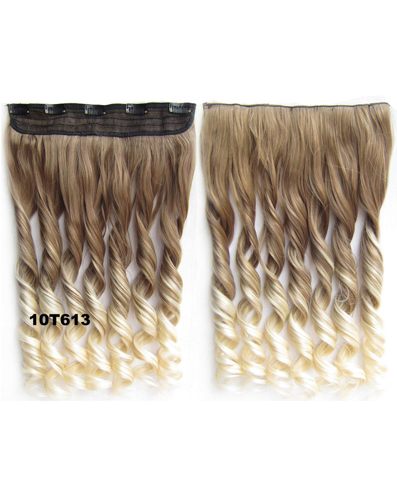 24 Inch Female Sophisticated Body Wave Curly Long One Piece 5 Clips Clip in Synthetic Hair 10T613