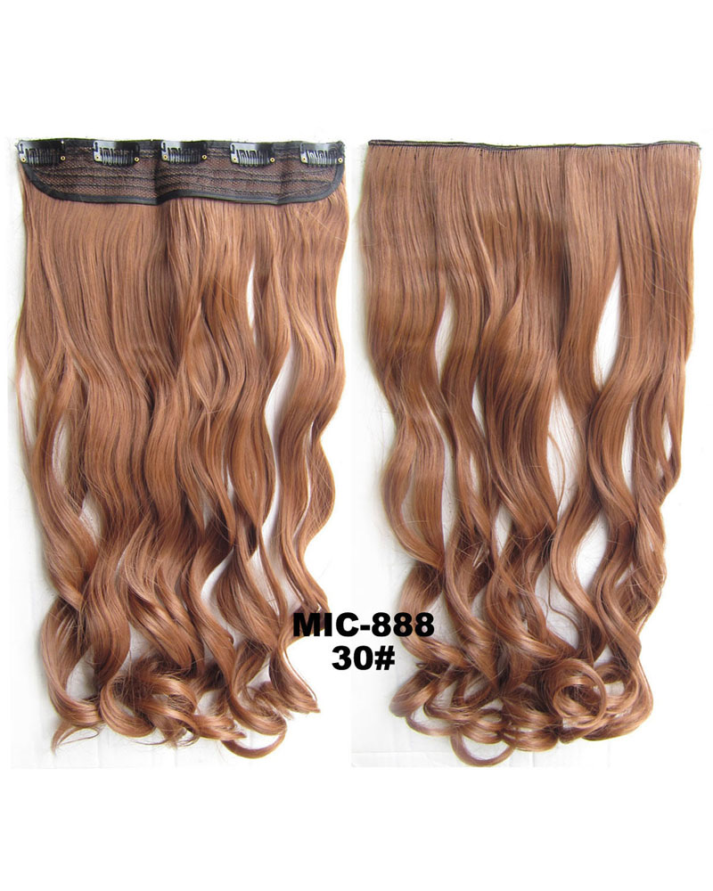 24 Inch Female Sophisticated Body Wave Curly Long One Piece 5 Clips Clip in Synthetic Hair 30# 100g