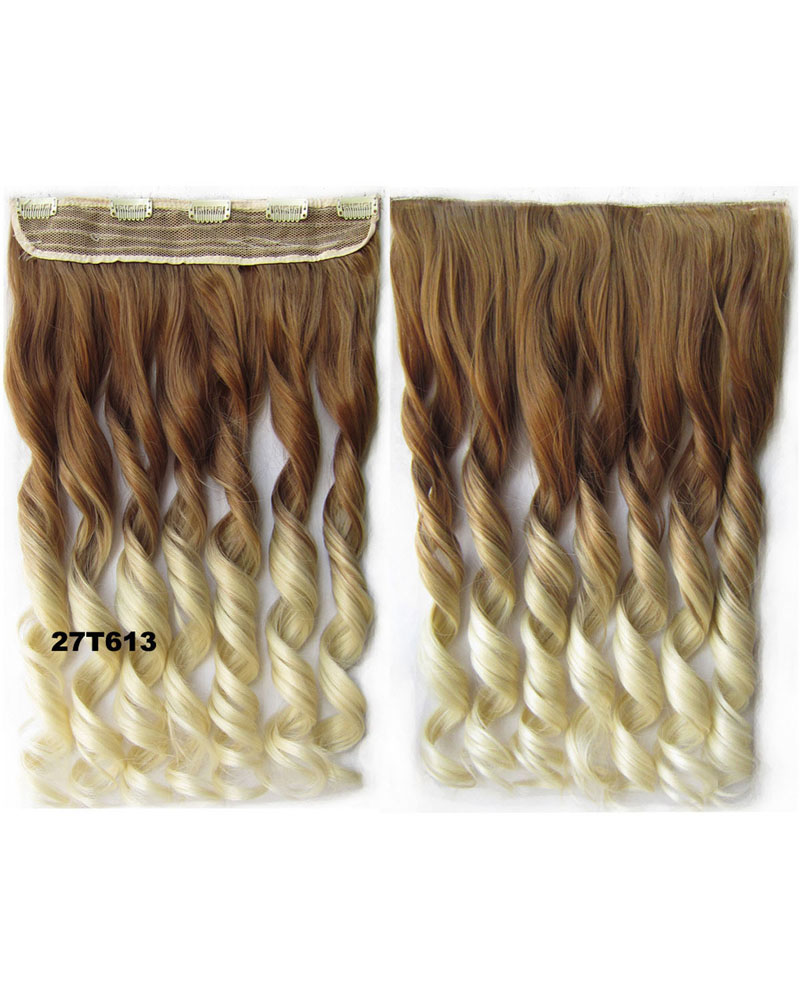 24 Inch Female Stylish and Body Wave Curly Long One Piece 5 Clips Clip in Synthetic Hair Extension Ombre 27T613