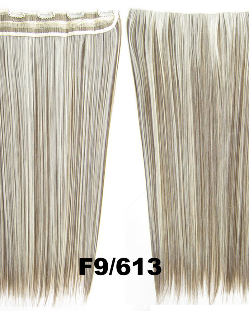 24 Inch Female Superior and Long Straight One Piece 5 Clips Clip in Synthetic Hair Extension  F9/613