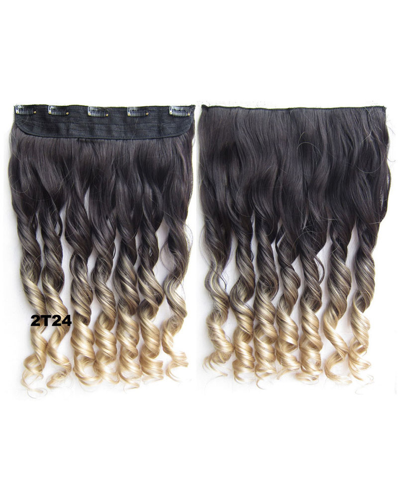 24 Inch Female Trendy and Salable Body Wave Curly Long One Piece 5 Clips Clip in Synthetic Hair Extension Ombre 2T24
