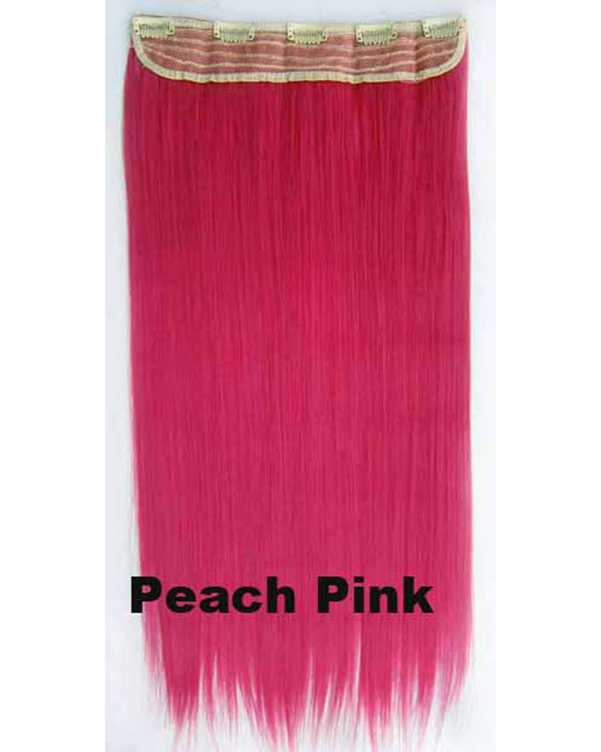 24 Inch Female Trendy Straight Long One Piece 5 Clips Clip in Synthetic Hair Extension Peach Pink