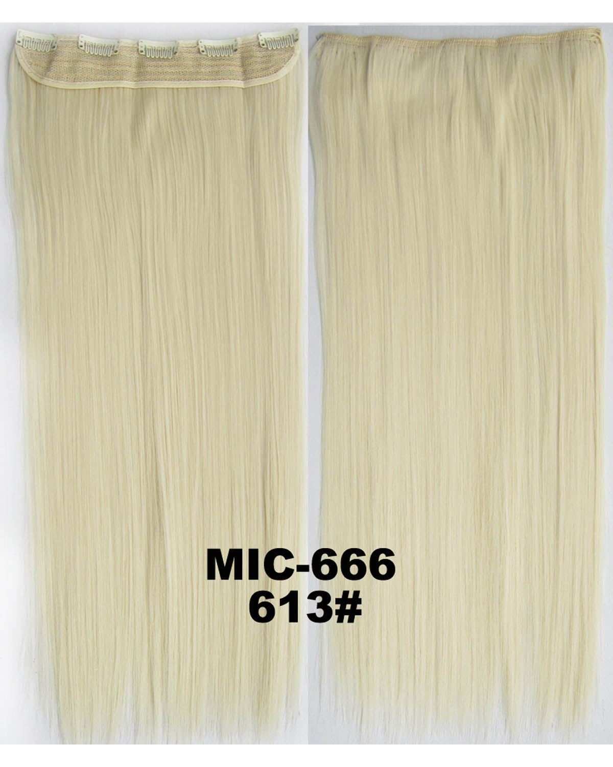 24 inch Fine Straight Long One Piece 5 Clips Clip in Synthetic Hair Extension 613#100g
