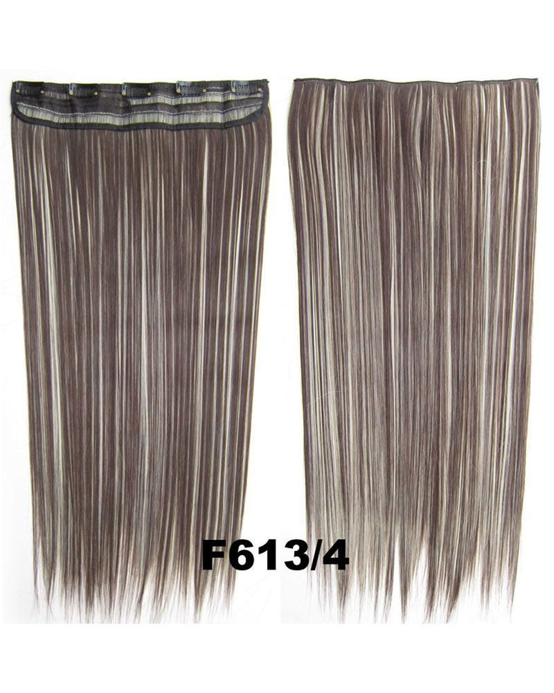 24 inch Good Quality Straight Long One Piece 5 Clips Clip in Synthetic Hair Extension F613/4