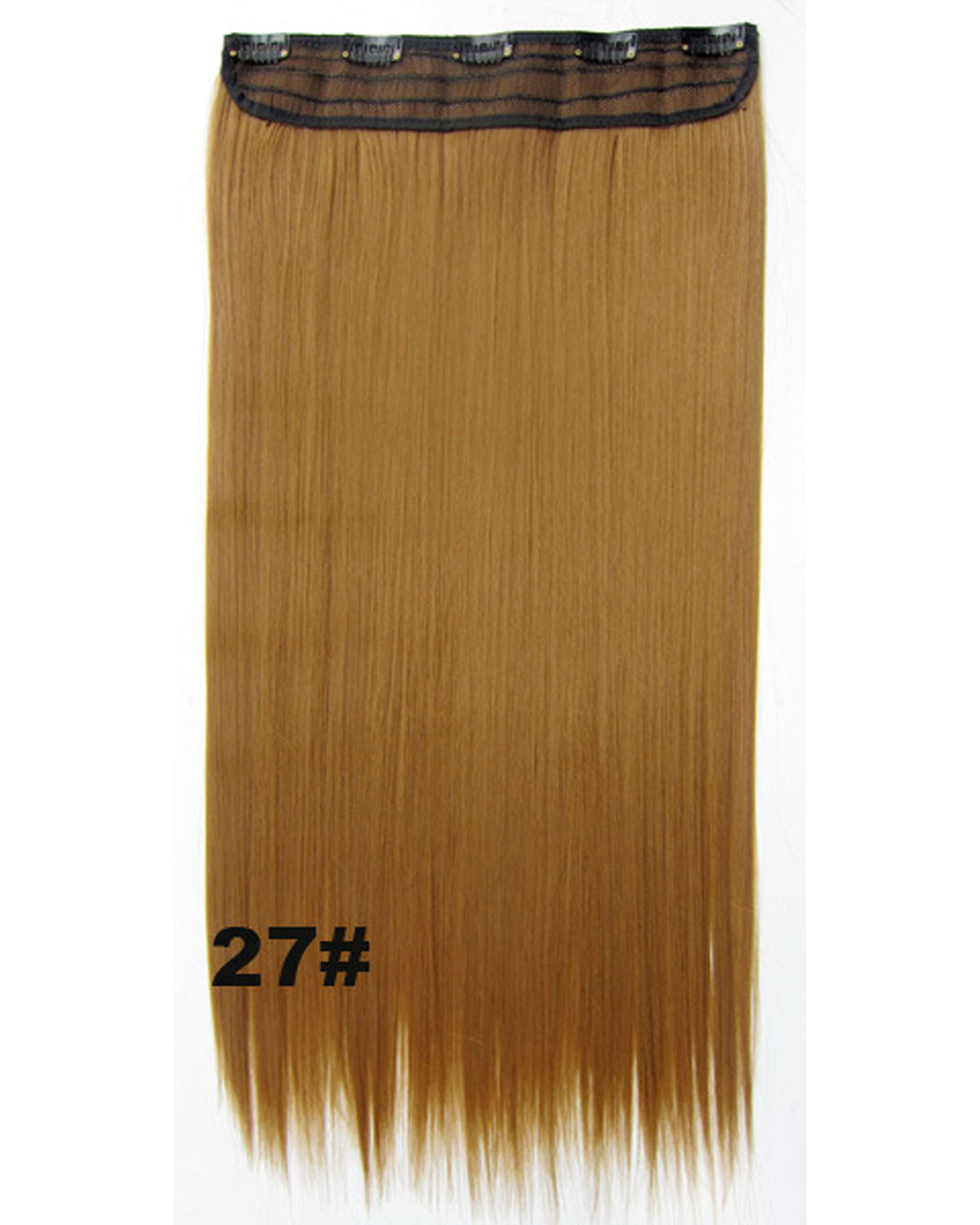 24 inch Gorgeous Straight Long One Piece 5 Clips Clip in Synthetic Hair Extension 27#