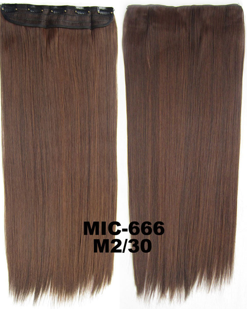 24 inch Great Straight Long One Piece 5 Clips Clip in Synthetic Hair Extension M2/30 100g