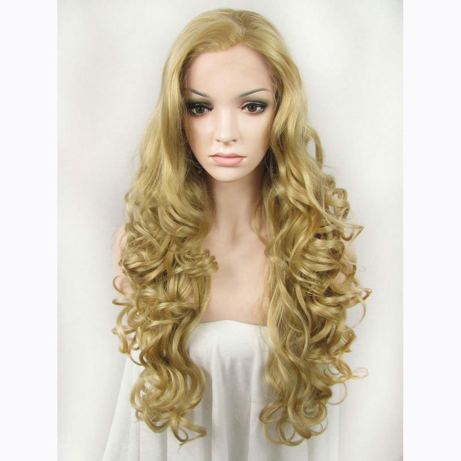 24 Inch Handmade Gold Sexy Women's Body Wave Lace Front Wig