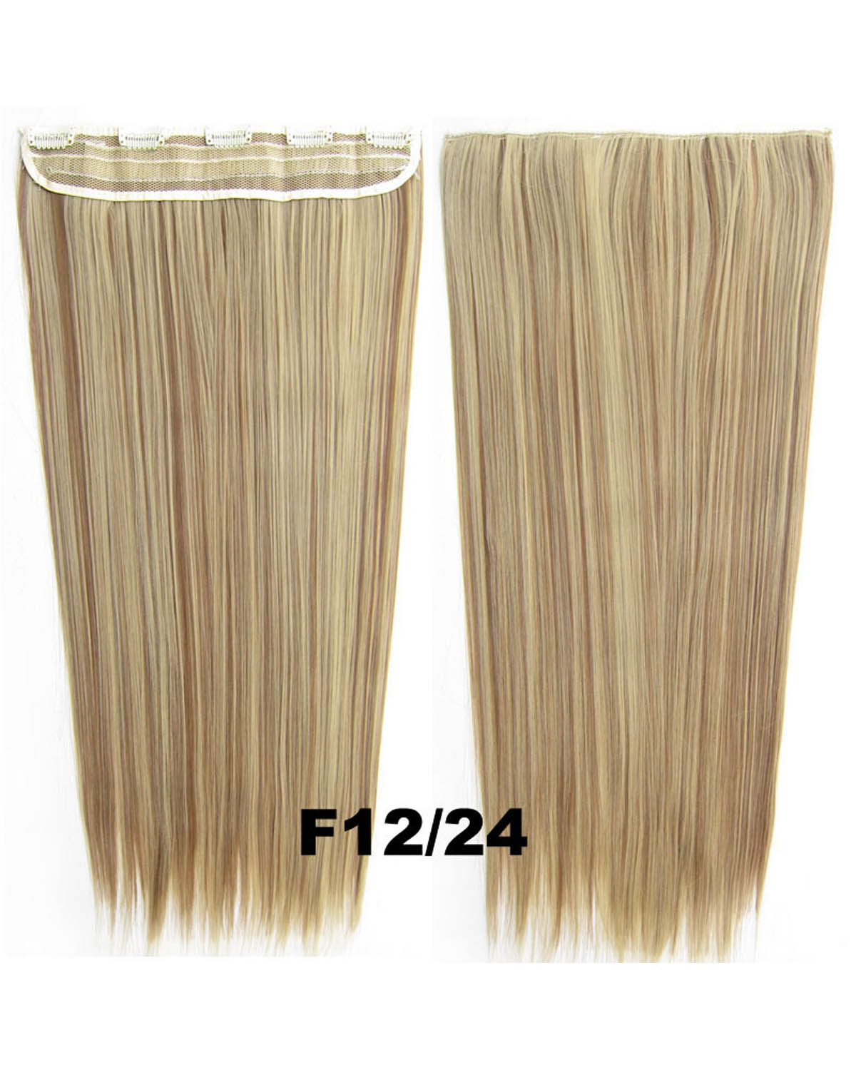 24 inch Hot-sale Straight Long One Piece 5 Clips Clip in Synthetic Hair Extension F12/24