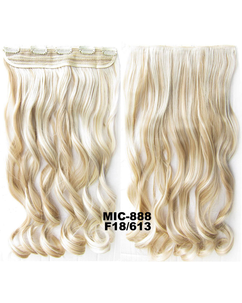 24 inch Korean Style Long Curly Wave One Piece 5 Clips Clip in Synthetic Hair Extension F18/613 100g