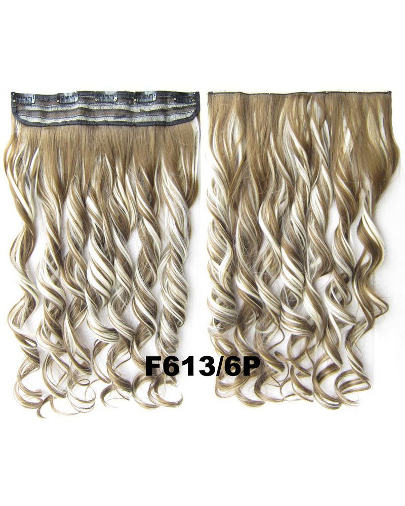 24 Inch Lady Bright Curly Long One Piece 5 Clips Clip in Synthetic Hair Extension F613/6P