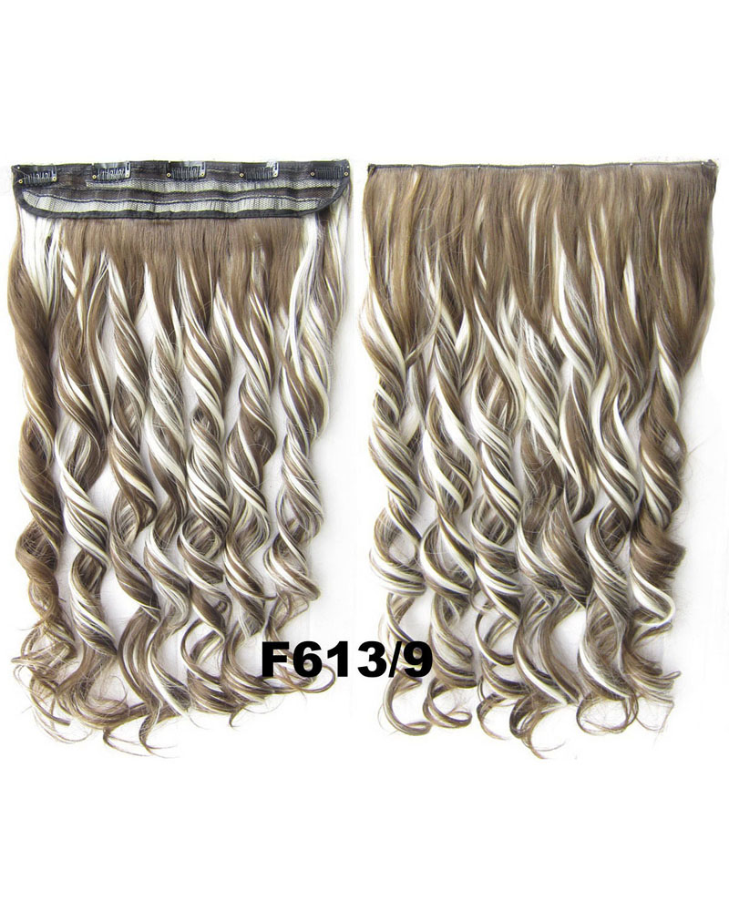 24 Inch Lady Dense Curly Long One Piece 5 Clips Clip in Synthetic Hair Extension F613/9