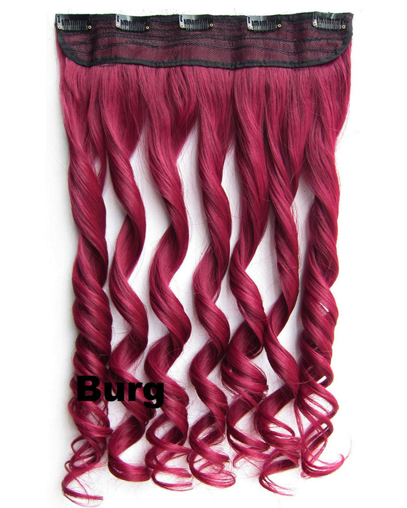 24 Inch Lady Good Quality Body Wave Curly Long One Piece 5 Clips Clip in Synthetic Hair Extension Burg
