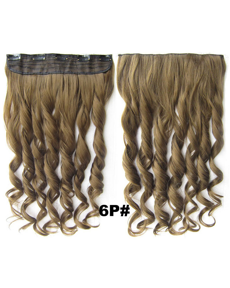 24 Inch Lady Good Quality Curly Long One Piece 5 Clips Clip in Synthetic Hair Extension 6P#