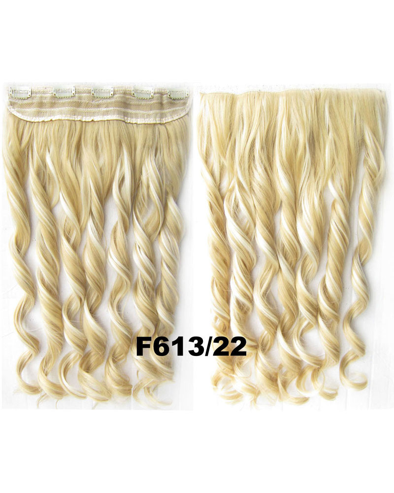 24 Inch Lady Great Big Body Wave Curly Long One Piece 5 Clips Clip in Synthetic Hair Extension F613/22