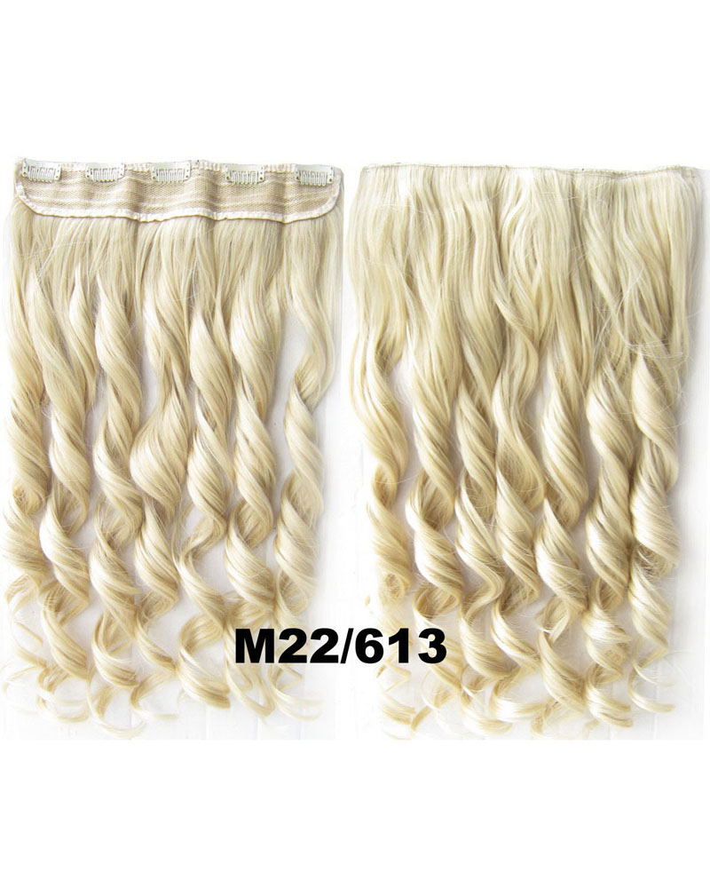 24 Inch Lady Great Body Wave Curly Long One Piece 5 Clips Clip in Synthetic Hair Extension M22/613#