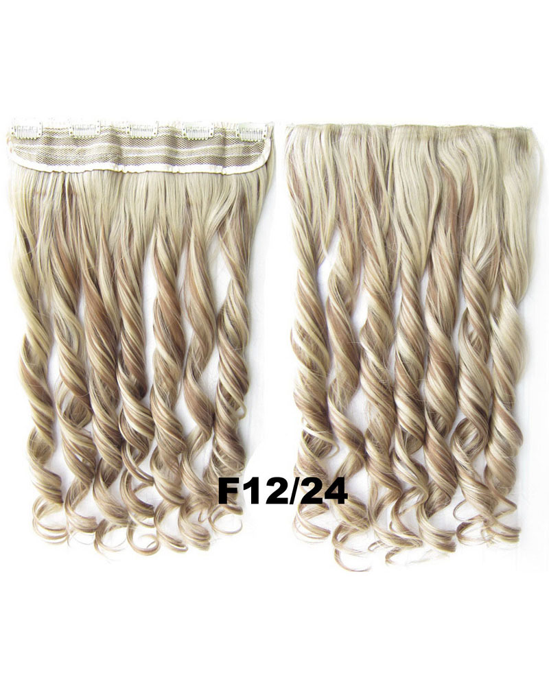 24 Inch Lady Modern Curly Long One Piece 5 Clips Clip in Synthetic Hair Extension F6P/613