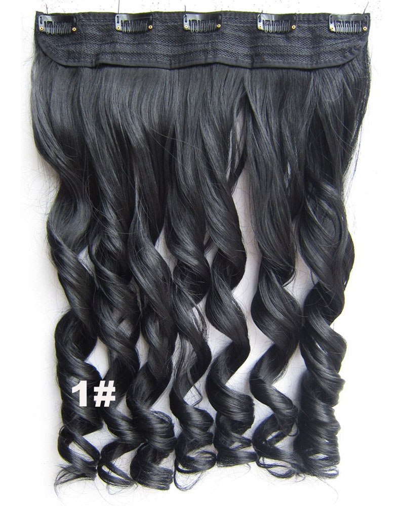 24 Inch Lady Perfect Curly Long One Piece 5 Clips Clip in Synthetic Hair Extension  1#