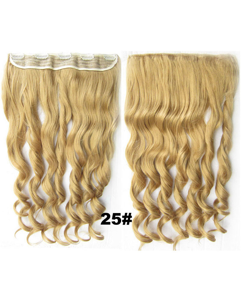 24 Inch Lady Shining Curly Long One Piece 5 Clips Clip in Synthetic Hair Extension 25#