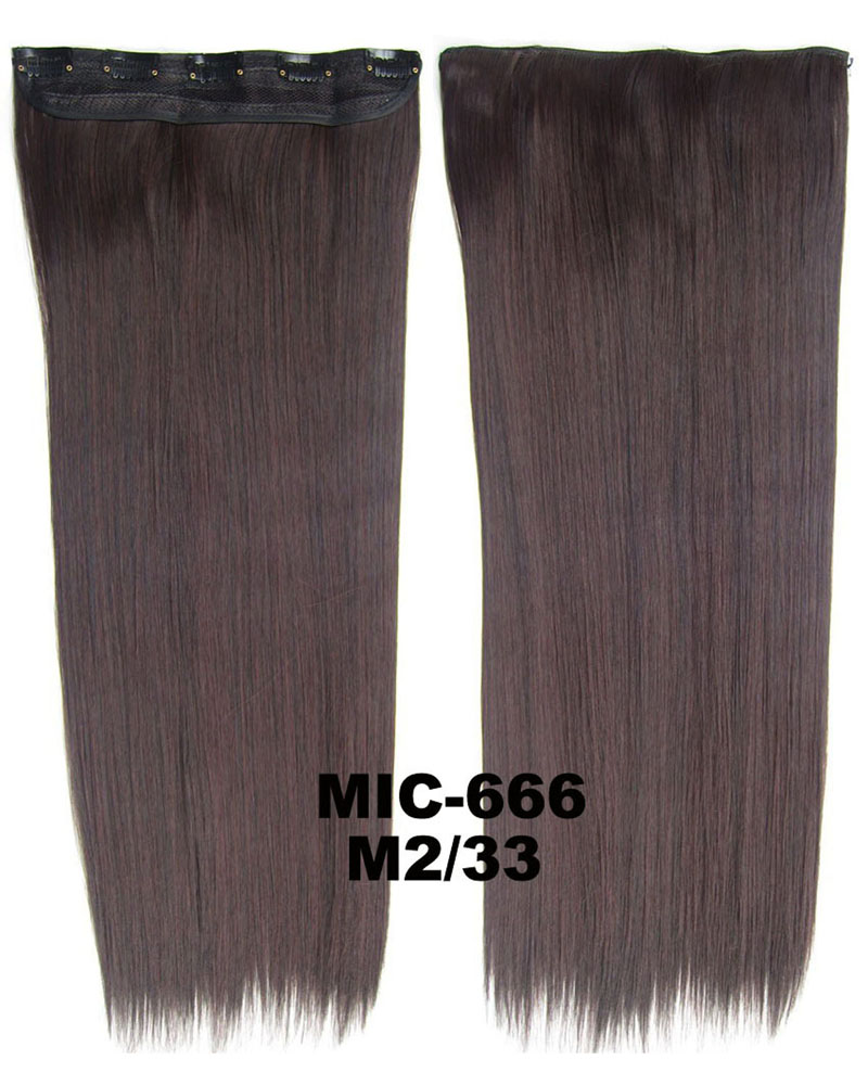 24 inch Lady Smooth Straight One Piece 5 Clips Clip in Synthetic Hair Extension M2/33 100g