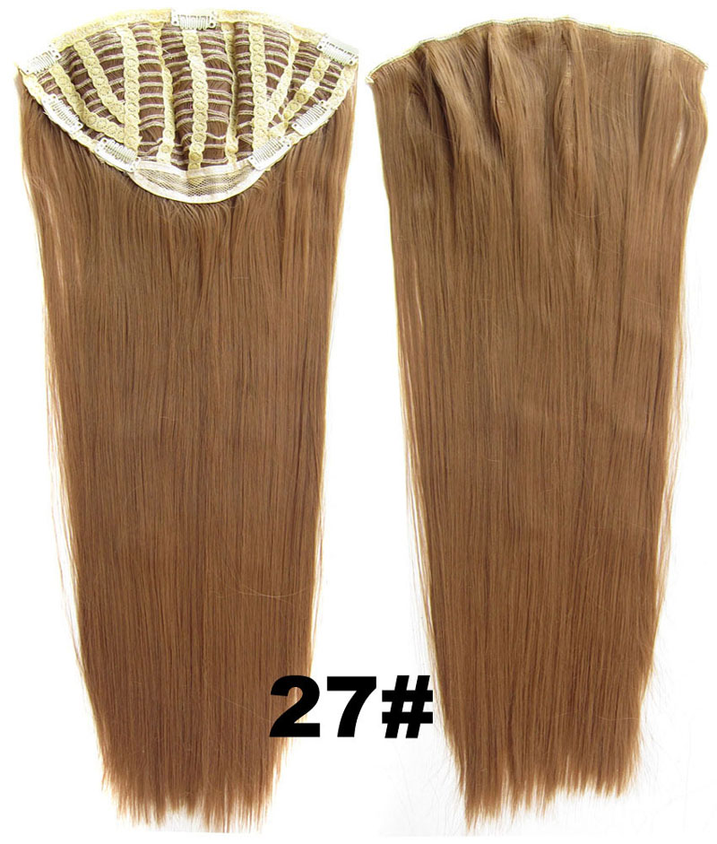 24 Inch Lady Straight and Long Captivating One Piece 7 Clips Clip in Synthetic Hair Extension27# Simpsons Hairpiece