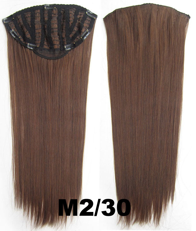 24 Inch Lady Straight and Long Gorgeous One Piece 7 Clips Clip in Synthetic Hair Extension M2/30#