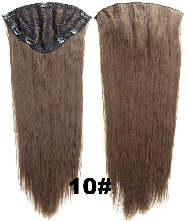 24 Inch Lady Straight and Long  Pretty One Piece 7 Clips Clip in Synthetic Hair Extension10#