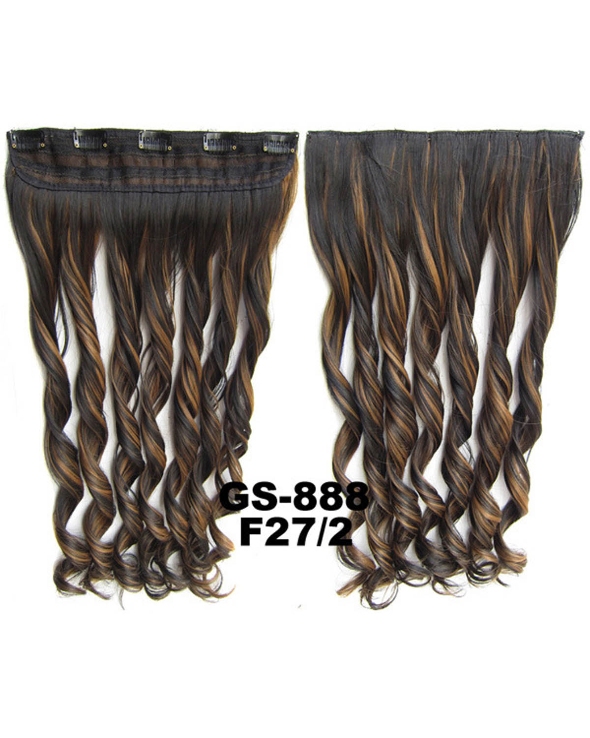 24 Inch Lady Styish Curly Long One Piece 5 Clips Clip in Synthetic Hair Extension  F27/2