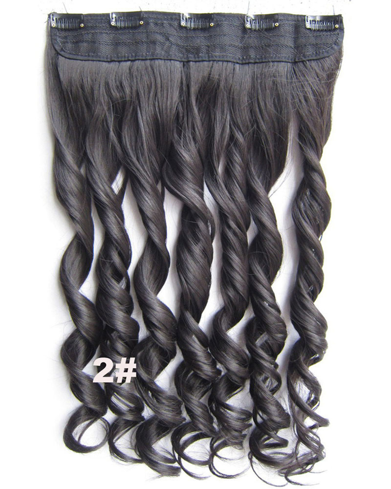 24 Inch Lady Thick Curly Long One Piece 5 Clips Clip in Synthetic Hair Extension 2#