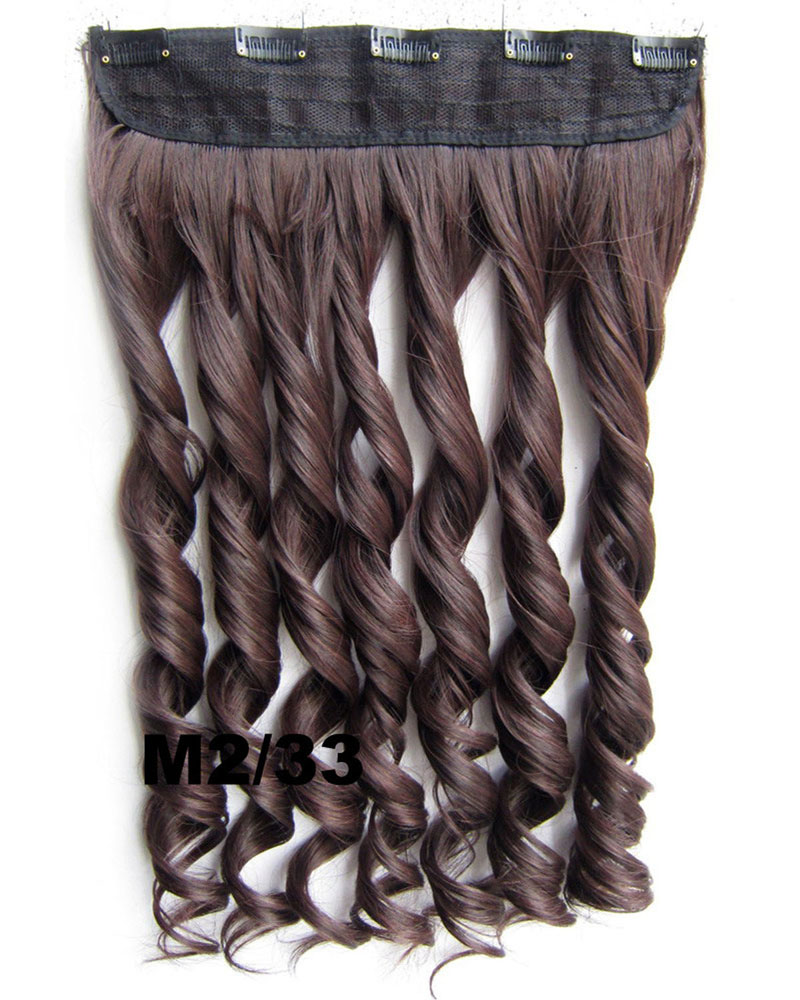 24 Inch Lady Thick Curly Long One Piece 5 Clips Clip in Synthetic Hair Extension M2/33  slice hairpiece