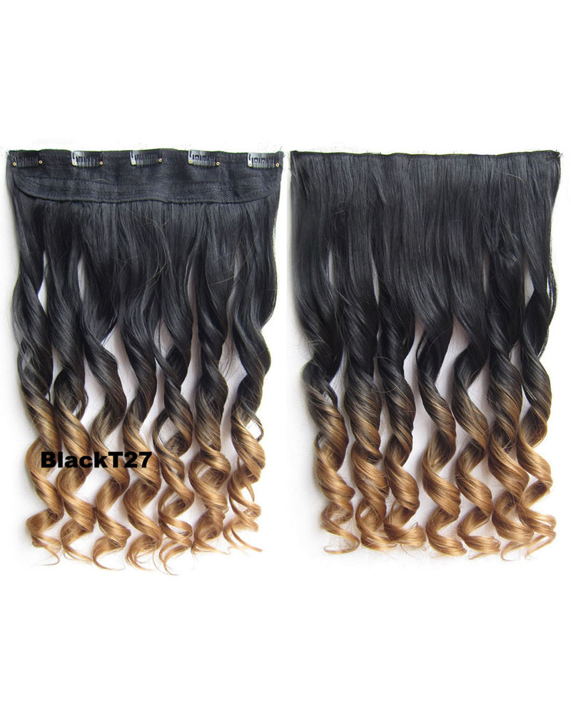 24 inch Long Curly One Piece 5 Clips Clip in Synthetic Hair Extension Dip Dye Ombre BlackT27