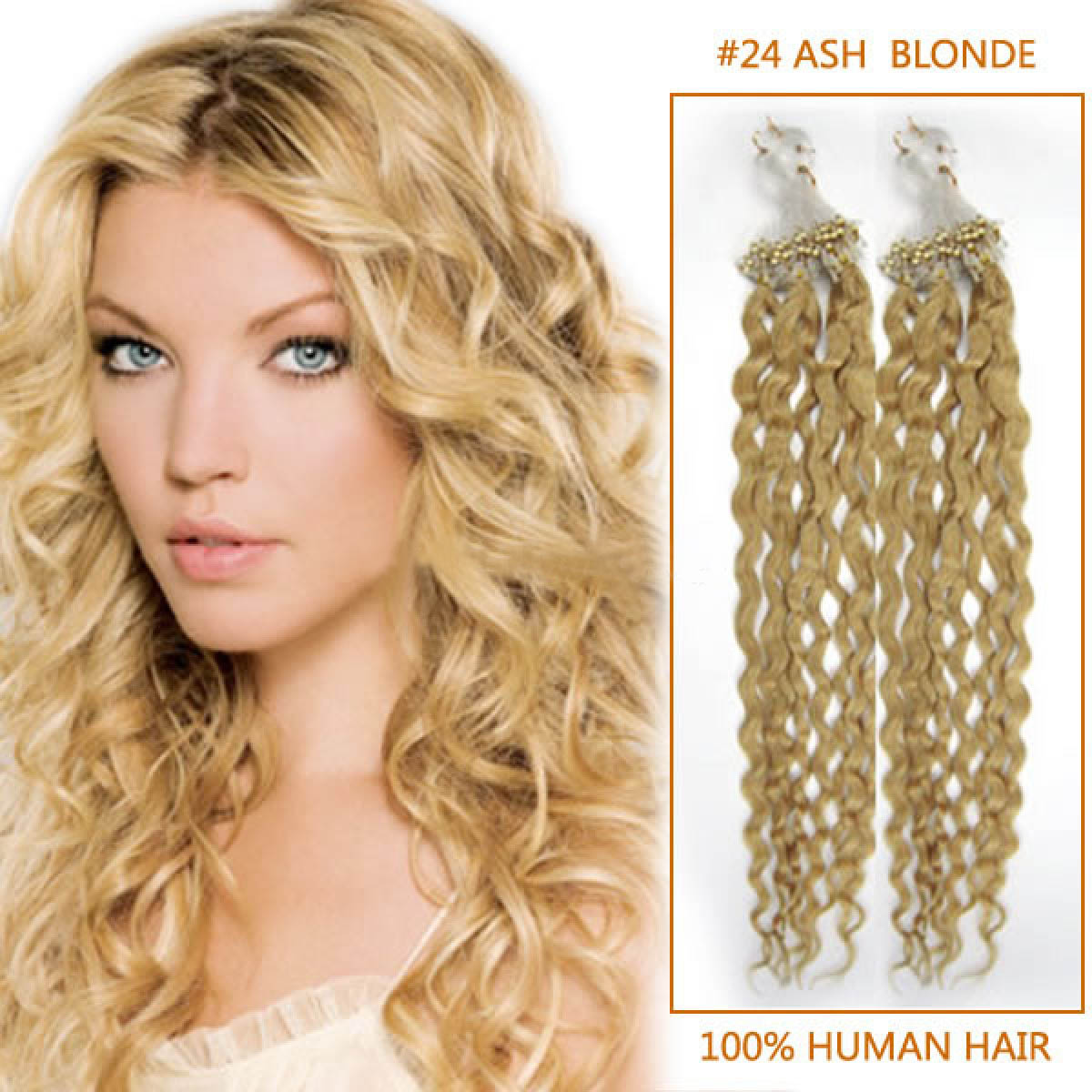 24 Inch Lustrous 24 Ash Blonde Curly Micro Loop Hair Extensions 100