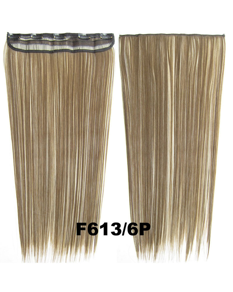 24 inch Modern Straight and Long One Piece 5 Clips Clip in Synthetic Hair Extension F613/6P