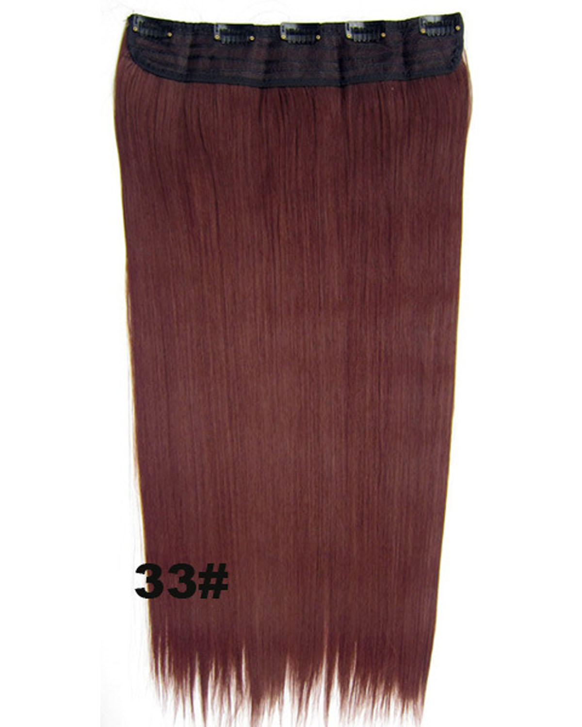 24 inch Natural Straight and Long One Piece 5 Clips Clip in Synthetic Hair Extension  33#