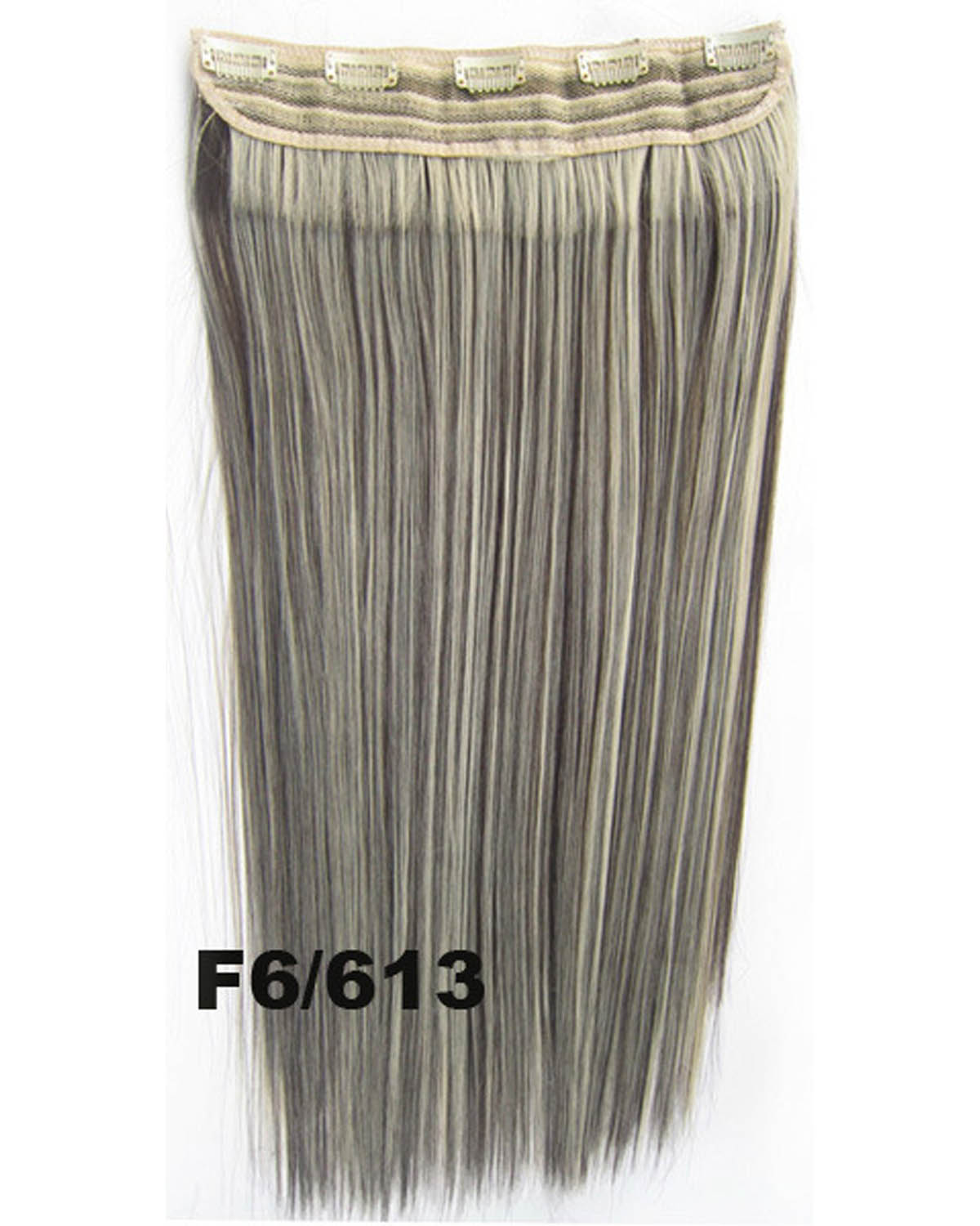 24 inch Newly Straight One Piece 5 Clips Clip in Synthetic Hair Extension F6/613