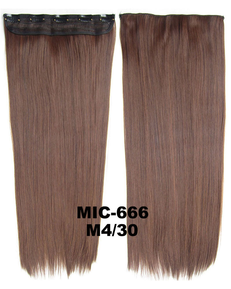 24 inch Perfect Straight Long One Piece 5 Clips Clip in Synthetic Hair Extension M4/30# 100g