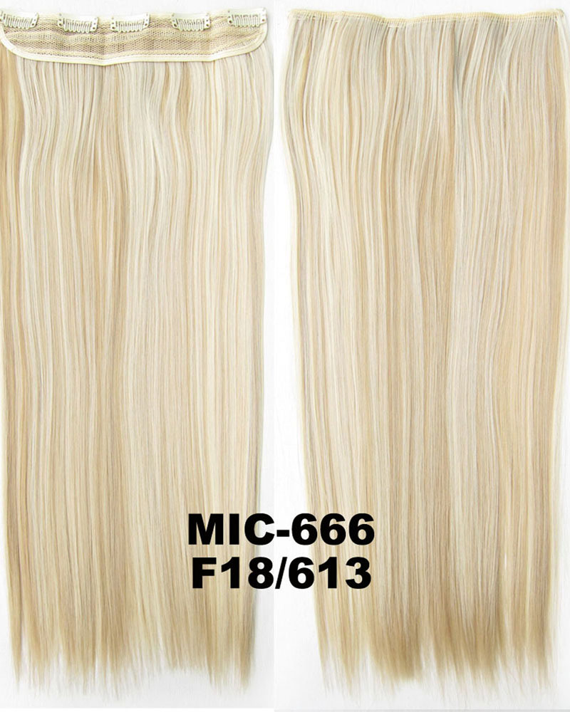 24 inch Smooth and Clean Straight Long One Piece 5 Clips Clip in Synthetic Hair Extension F18/613# 100g