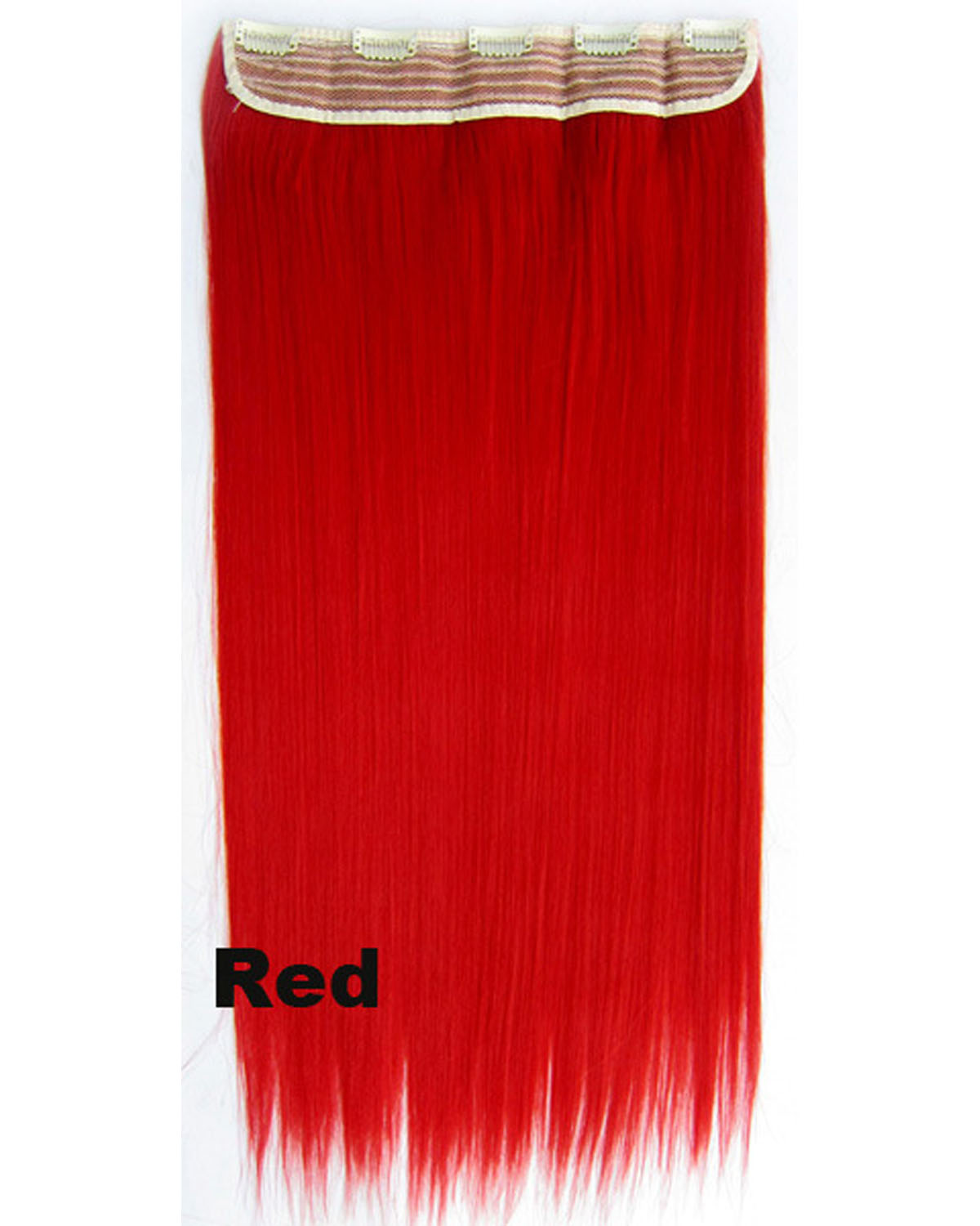 24 inch Smooth Straight and Long One Piece 5 Clips Clip in Synthetic Hair Extension Red 60cm 130g