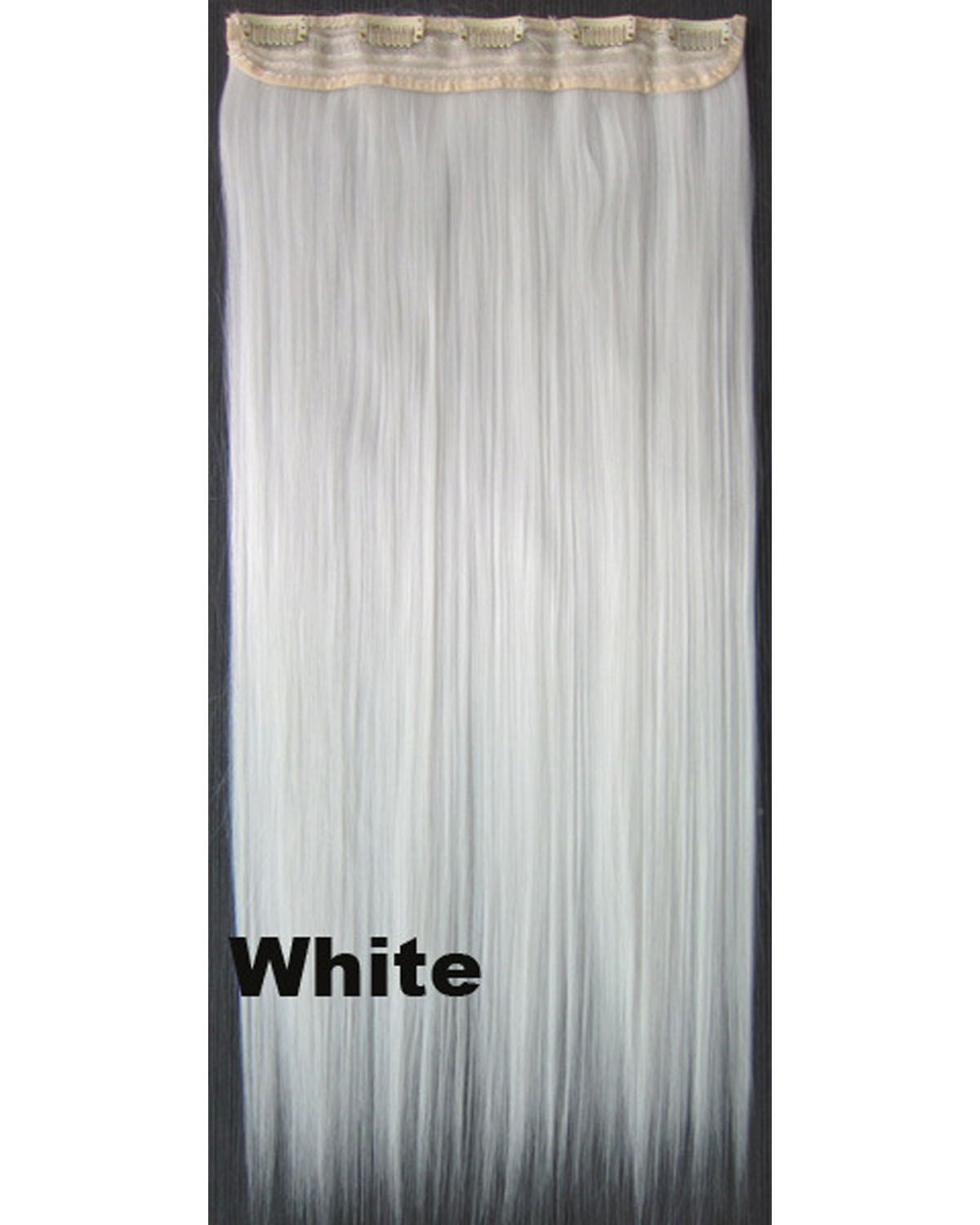 24 inch Straight  Long One Piece 5 Clips Clip in Synthetic Hair Extension White