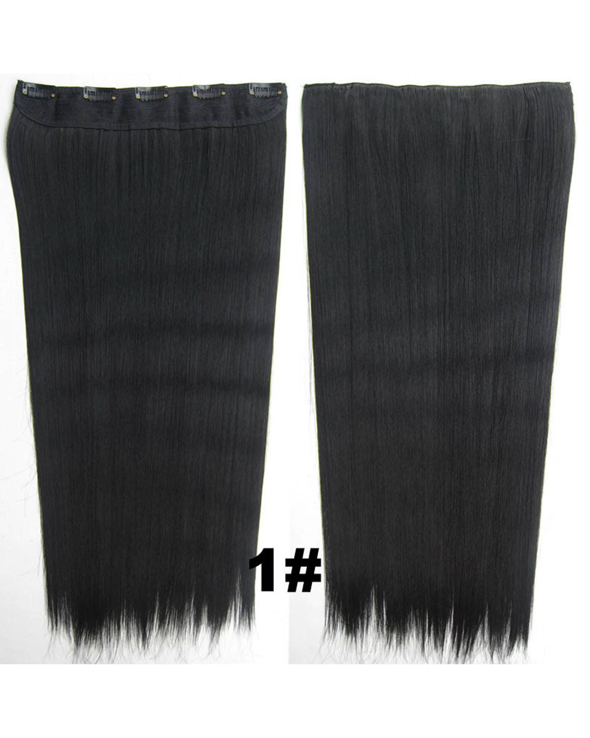 24 inch Stylish Straight and Long One Piece 5 Clips Clip in Synthetic Hair Extension 1#