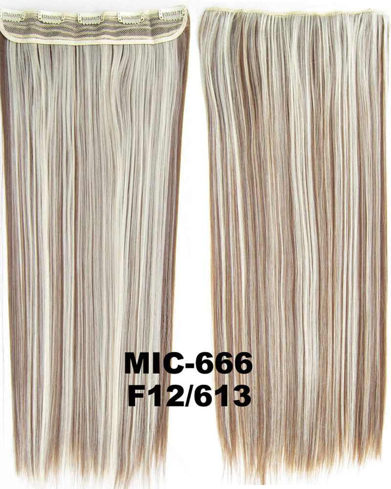 24 inch Stylish Straight Long One Piece 5 Clips Clip in Synthetic Hair Extension F12/613 100g