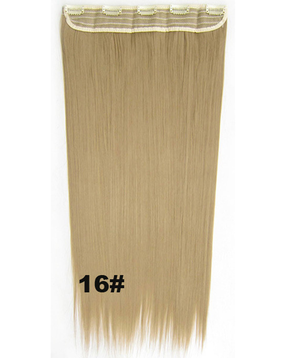 24 inch Vivid  Straight Long One Piece 5 Clips Clip in Synthetic Hair Extension 16#