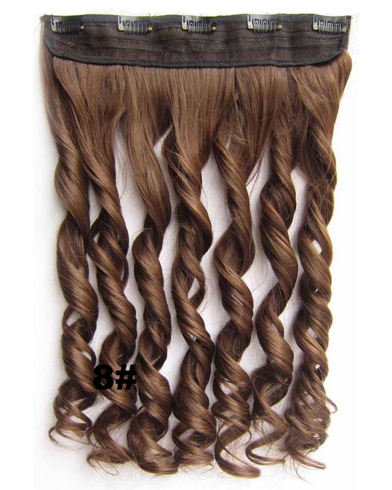 24 Inch Women Arresting Body Wave Curly Long One Piece 5 Clips Clip in Synthetic Hair 8#