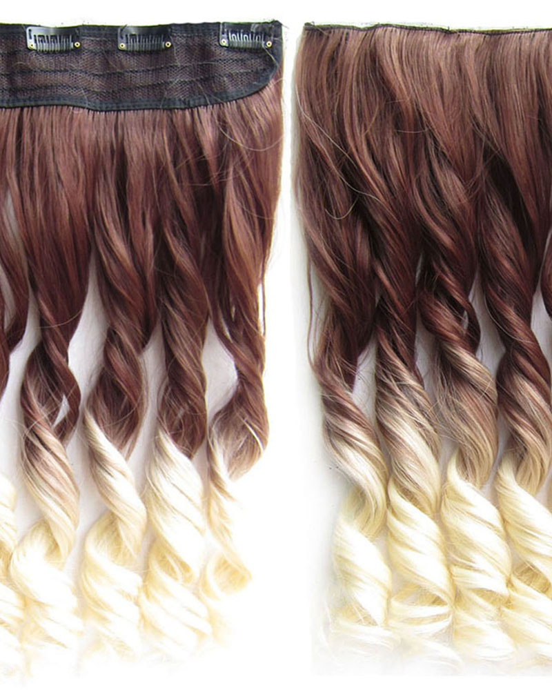 24 Inch Women Arrestive Body Wave Curly Long One Piece 5 Clips Clip in Synthetic Hair Ombre Dip dye  6T613